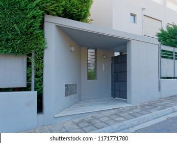 modern house entrance metallic gray door, Athens Greece