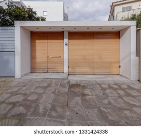 modern house entrance solid wood door, Athens Greece