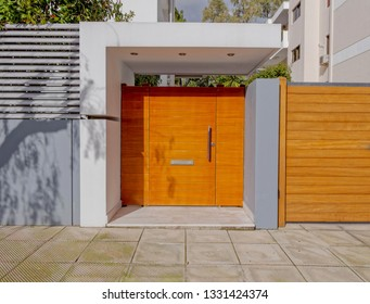 modern house entrance solid wood door, Athens Greece