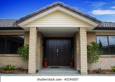 A modern house entranceway and front door