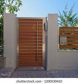 modern house external entrance wooden door, Athens Greece