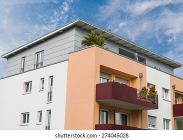 modern house facade in Essen Germany and blue sky