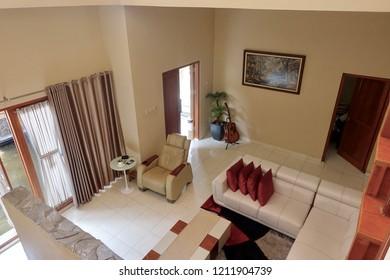 Modern house interior indoor design top view: Indonesia - October 2018