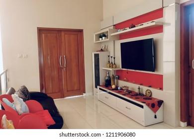 Modern house interior indoor living room design: Indonesia - October 2018