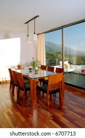 modern house interior showing  dinning room