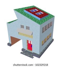 modern house render illustration