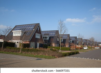 Modern house with solar panels for alternative energy