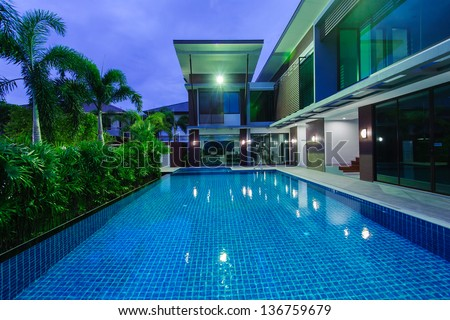 Mansion with pool at night  Modern House Swimming Pool Night Stock Photo (Edit Now) 136759679 ...
