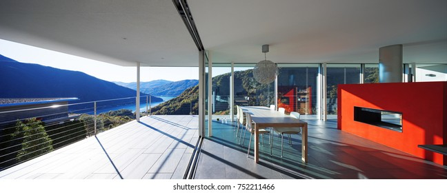 Modern house, view from balcony to the valley