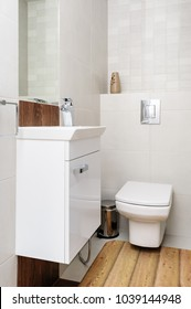 Modern house white and beige bathroom interior