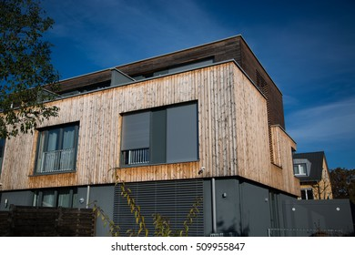 Modern house, with wooden cladding - wooden facade, wooden house