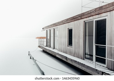 Modern houseboat at the baltic sea