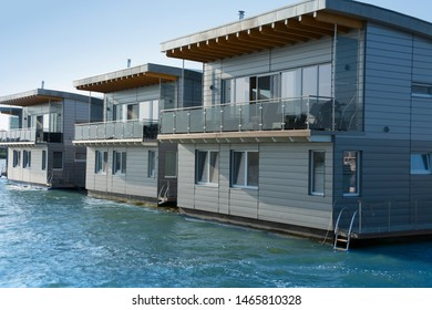 Modern houseboats floating on the water