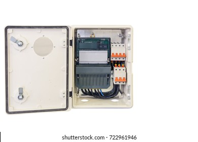 modern household electricity meter with a switching device insulated on white background/modern household electricity meter with a switching apparatus in an iron box