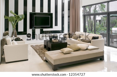 Modern House,living Room With The Modern Furniture
