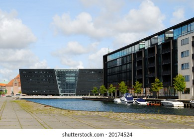 Modern houses at Christiansbrygge Copenhagen, with The Royal Library in the Background.