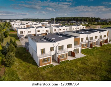 Modern houses district. Exteriors. Aerial view.