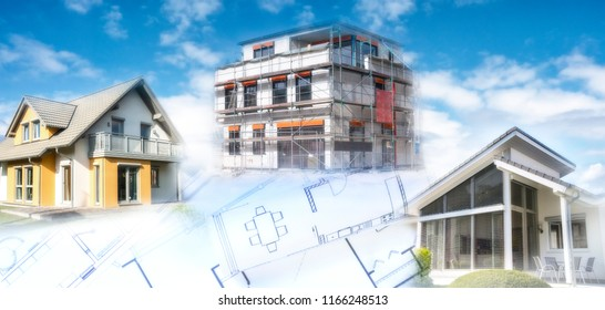 Modern houses a shell and building plans as a symbol of the construction or real estate industry.