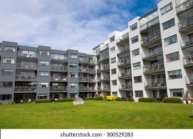 Modern housing complex seen in Reykjavik, Iceland
