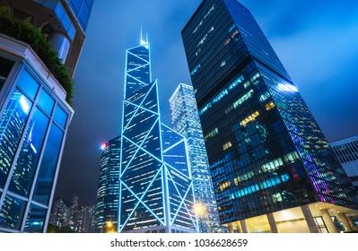 modern illuminated financial skyscrapers in Hong Kong,China.