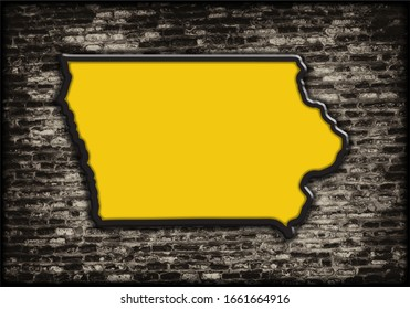 Modern illustrated 3D rendering of the State of Iowa gold and black outline silhouette shadowed on top of distressed textured dark brick wall background