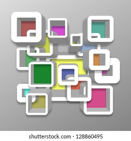 Modern illustration of white rounded squares with colour inside