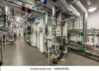 Modern independent heating system in boiler room. Efficient water treatment