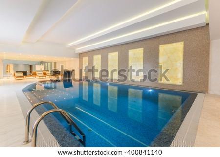 Modern Indoor Pool SPA Hotel Stock Photo (Edit Now) 400841140 ...