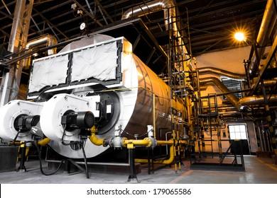 a modern industrial boiler, industrial building interior