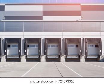 Modern Industrial building and warehouse, cargo doors