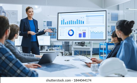 Modern Industrial Factory Meeting: Confident Female Engineer Uses Interactive Whiteboard, Makes Report to a Group of Engineers, Managers Talks and Shows Statistics, Growth and Analysis Information - Shutterstock ID 1844044174