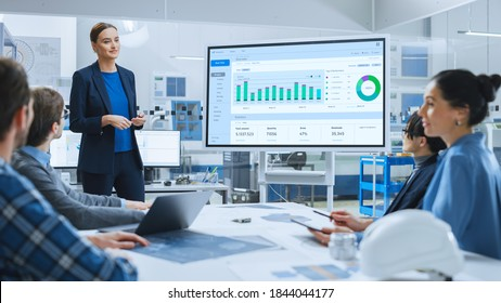 Modern Industrial Factory Meeting: Confident Female Engineer Uses Interactive Whiteboard, Makes Report to a Group of Engineers, Managers Talks and Shows Statistics, Growth and Analysis Information - Shutterstock ID 1844044177
