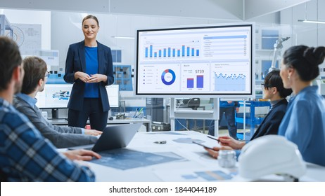 Modern Industrial Factory Meeting: Confident Female Engineer Uses Interactive Whiteboard, Makes Report to a Group of Engineers, Managers Talks and Shows Statistics, Growth and Analysis Information - Shutterstock ID 1844044189