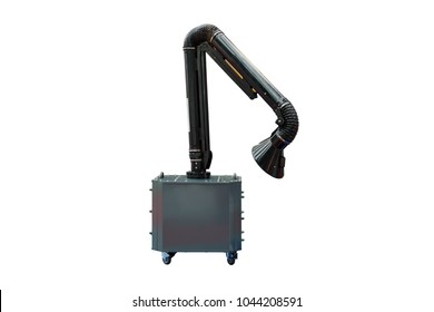 Modern of industrial hood arm for suction smoke or fume machine of welding or multipurpose use isolated on white background (flexible and movable type)