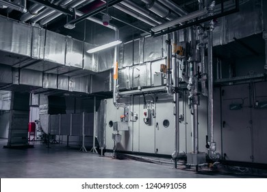 Modern industrial interior of the ventilation plant room, that can be used for environmental 3d modelling.