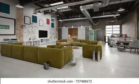 Modern and industrial loft - 3 d render