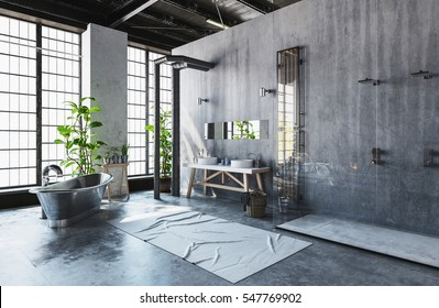 Modern industrial loft conversion into a hipster minimalist bathroom with vintage style metal roll-top bathtub and fresh green potted plants in front of bright windows, 3d rendering