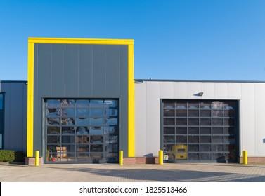 modern industrial unit with roller doors