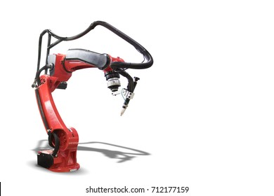 Modern Industrial welding robots isolated on white background with clipping path