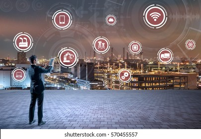 modern industry buildings and various technological symbol icons, smart factory, internet of things, smart city, abstract image visual