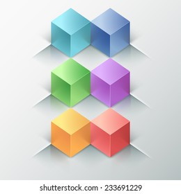 Modern infographics options banner with realistic colorful parallelepipeds (box). Rasterised copy. Can be used for web design and  workflow layout