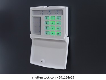 Modern intercom on the wall close-up. Security