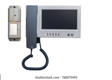 modern intercom system with a large video screen isolated on white background