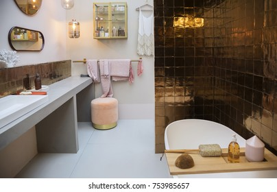 modern interior of bath room