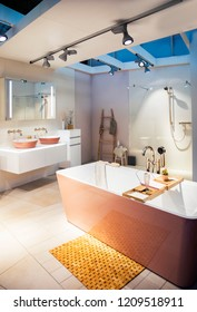 modern interior of bath room, contemporary