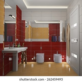 Modern interior of a bathroom 3D rendering