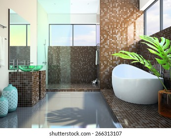 Modern interior of the bathroom 3D rendering
