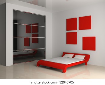 modern interior of the bedroom 3D