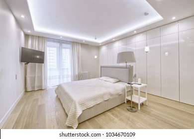 Modern interior of a bedroom in the new house.