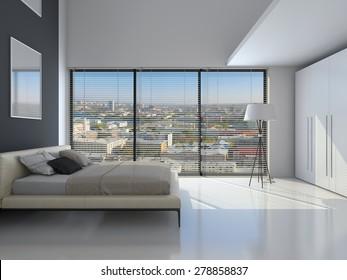 Modern interior of a bedroom room 3D rendering